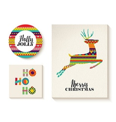 Colorful set of christmas card templates with deer vector image