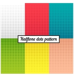 colour set halftone retro background vector image