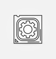 cpu with gear concept icon processor vector image