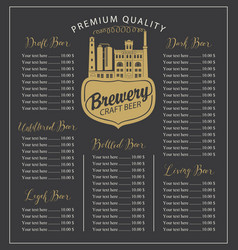 craft beer menu with price list and brewery vector image