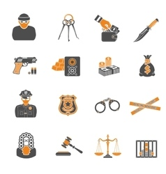 Crime and punishment two color icons set vector