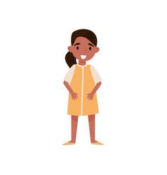 Cute smiling hispanic little girl standing vector