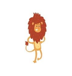 Cute smiling lion cartoon character standing on vector