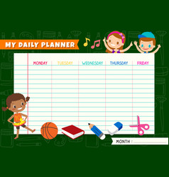 daily planner with cute kids cartoon characters a vector image
