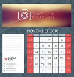 Desk Calendar for 2016 Year November Stationery vector