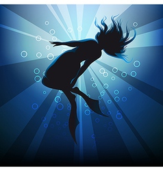 diving girl in flippers against ocean background vector image