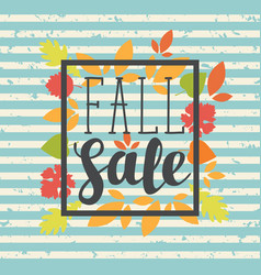 fall sale design with colorful autumn leaves vector image