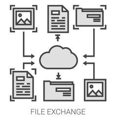 File exchange line infographic vector