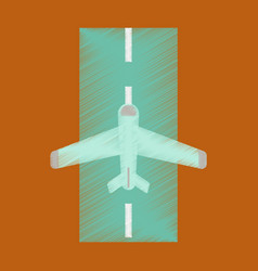 Flat icon in shading style airplane runway vector