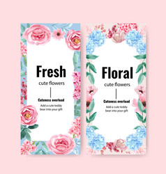 Floral charming flyer design with anemone vector