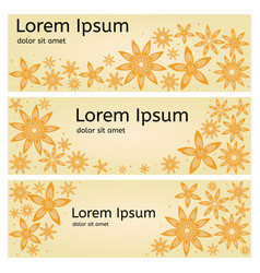 Flower banners yellow vector
