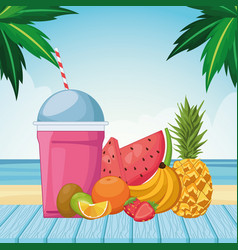Frozen drink with fruits vector