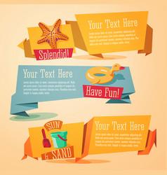 fun summer banners set - beach theme vector image
