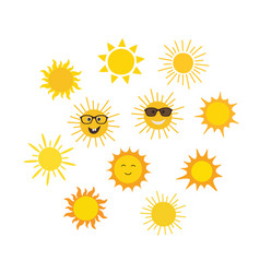 funny doodle suns vector image