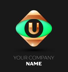 golden letter u logo in the golden-green square vector image