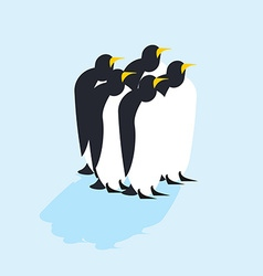 Group of penguins Arctic animals on ice Antarctic vector