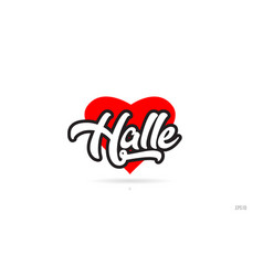 Halle city design typography with red heart icon vector