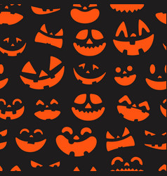 halloween pumpkin faces seamless pattern vector image
