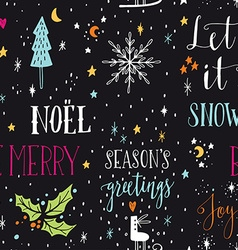 Hand drawn seamless pattern with Christmas design vector image