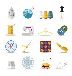 Handmade and sewing isolated icons set Flat style vector image