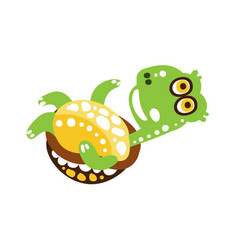 happy green turtle flipped on back vector image