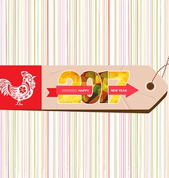Happy new year 2017 with rooster and tag vector