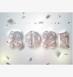 Happy new year banner with silver 2021 numbers on vector