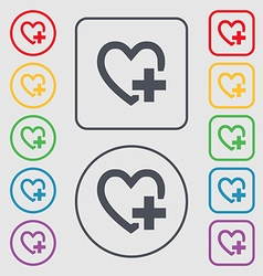 Heart sign icon Love symbol Symbols on the Round vector image