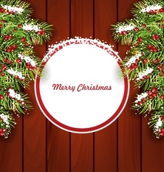 Holiday Card on Wooden Background vector image