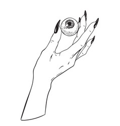 Human eyeball in female hand tattoo design vector