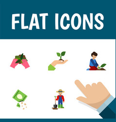 Icon flat seed set of sow plant farmer and other vector