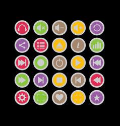 icon pack audio 25 icon pantone colors vector image