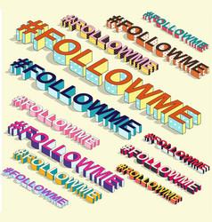 isometric hashtag - followme internet blogging vector image