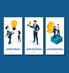 Isometric investing in a startup business growth vector
