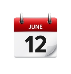 June 12 flat daily calendar icon Date vector