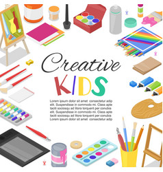 Kids created art education creativity class vector