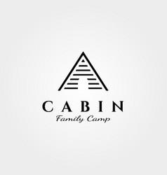 Line art cabin logo minimalist design vector