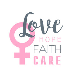 love hope faith care label vector image