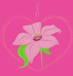 Luminous heart with lily vector