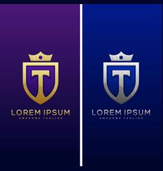luxury letter t concept design template vector image