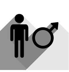 male sign black icon with vector image