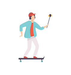 male skateboarder taking selfie photo on vector image
