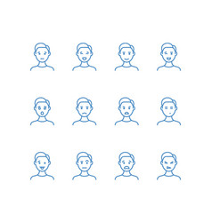 man face with different emotions line icons male vector image