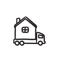 Motorhome sketch icon vector