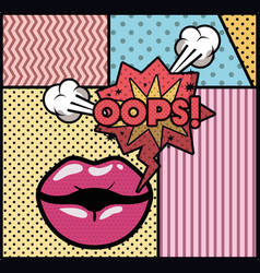 mouth saying oops pop art style vector image