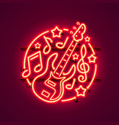 Neon label music rock banner vector
