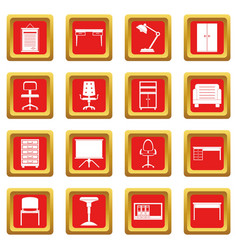Office furniture icons set red vector