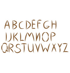 old rope hand drawn alphabet letters from a to t vector image
