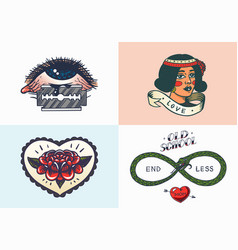 old school tattoo stickers eye and woman heart vector image