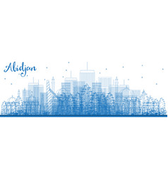 Outline abidjan city skyline with blue buildings vector